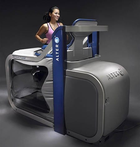Athlete running using the Alter G Anti Gravity Treadmill